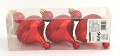 DUE ESSE zestaw 3 ozdób choinkowych 13 cm, czerwone bańki z błyszczącym paskiem