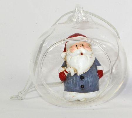 DUE ESSE prozorna steklena krogla, Ø 8 cm, s figuro znotraj 2