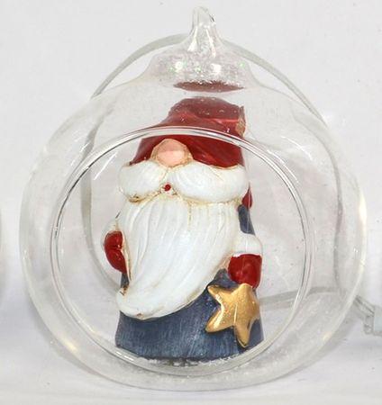 DUE ESSE prozorna steklena krogla, Ø 8 cm, s figuro znotraj 3