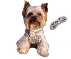 Brunbo Vesta pro psy a kočky, nastavitelná s vodítkem, šedo-bílá, l