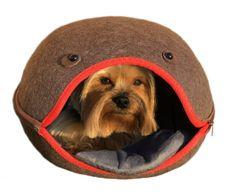 Brunbo Hnědý plstěný spací pelíšek, kukaň, pelech pro malé psy