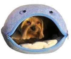 Brunbo Modrý plstěný spací pelíšek, kukaň, pelech pro malé psy