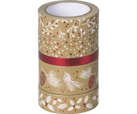 Kraftika 5 db papír ragasztószalag, természetes piros, dekoráció