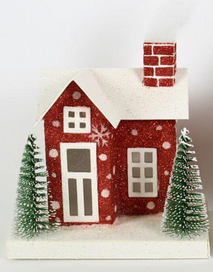 DUE ESSE Vánoční svítící zasněžený domeček 13 cm, bílá střecha