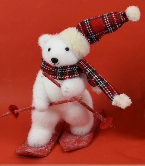 DUE ESSE Vánoční dekorace, lední medvěd na lyžích 26 cm 2