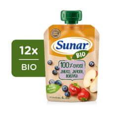 Sunar BIO kapsička Jablko, jahoda, čučoriedka 12x 100 g