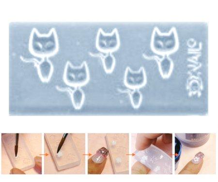Kraftika 1db átlátszó 5 macska állat szilikon 3d mini penész köröm