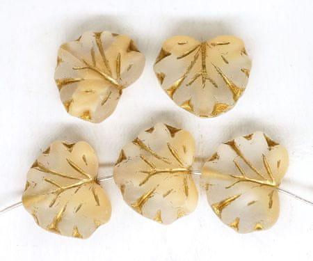 Kraftika 12db matt sárga kristály fél arany patina mosás juharlevél