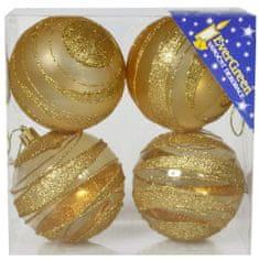 EverGreen Csíkos gömb, glitteres 2 fényes + 2 matt, átmérő 8cm 2