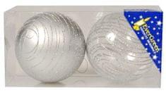 EverGreen Gömb glitteres, csíkos, x2, átmérő 8 cm2