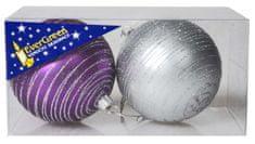 EverGreen Gömb glitteres, csíkos, x2, átmérő 8 cm5