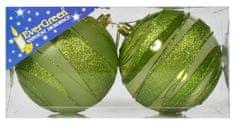 EverGreen Csíkos gömb, glitteres 1 fényes + 1 matt, átmérő 10 cm 3