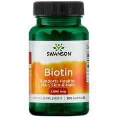 Swanson Vitamins Biotin 100 kapslí 5mg