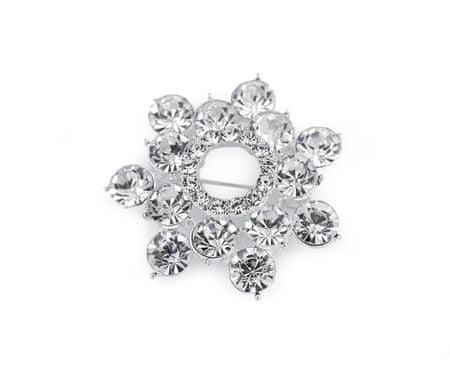 Kraftika 1db kristály strasszos bross / esküvői csokor dekoráció