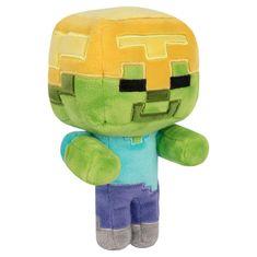 J!nx Minecraft Happy Explorer Gold Helmet Zombie plišana igračka, 23 cm