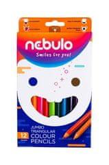 NEBULO Barevné pastelky, sada 12ks barev, jumbo, trojhranné