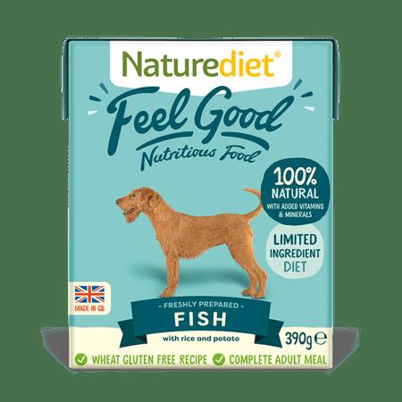 Naturediet Feel Good Fisch pasja hrana, riba z zelenjavo in rižem, 390g