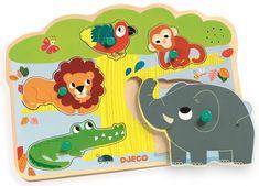 Djeco Vkládací puzzle Zvířátka z jungle se zvuky