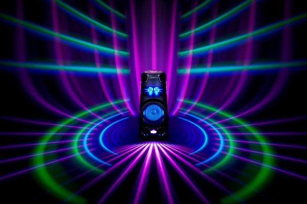 modern parti hangszóró sony mhc-v73d bluetooth analóg audio bemenet hdmi arc usb port cd lejátszó dvd lejátszó sokirányú hang fény show erős hang basszusfokozással dj effektusok taiko dobolás mód kijelző vezérlés és mobilalkalmazás erős kialakítás vízálló dolby digitál echo a karaokenál hangváltó fader vezérlő gesztusok nfc párosítás fiestable mobilalkalmazás fm tuner és rds