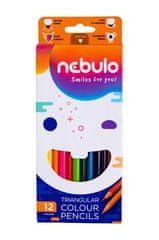 NEBULO Barevné pastelky, trojhranné, sada, 12 různých barev