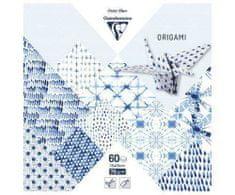Clairefontaine Papíry na origami 15x15cm (60ks) modro bílé