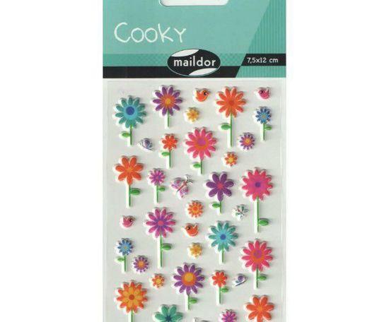 Kraftika Samolepky cooky - květiny, maildor, plastické