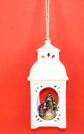DUE ESSE Vánoční porcelánová lucerna se scénou z betlému, 21 cm, typ č.1