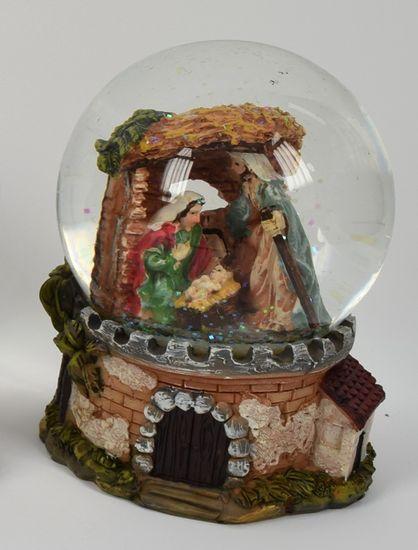 DUE ESSE Vánoční sněžítko s motivem betlému 14 cm, typ č.4