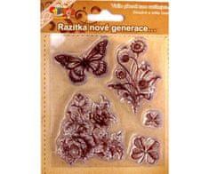 SMT Creatoys Motýl s kytkami - silikonová gelová razítka (5ks)