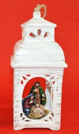 DUE ESSE Karácsonyi porcelán lámpás betlehemes jelenettel, 21 cm, 2. típus