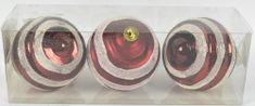DUE ESSE Set 3 ks červených vánočních koulí Ø 8 cm s třpytivým proužkem, typ 1