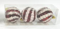 DUE ESSE Set 3 ks červených vánočních koulí Ø 8 cm s třpytivým proužkem, typ 2