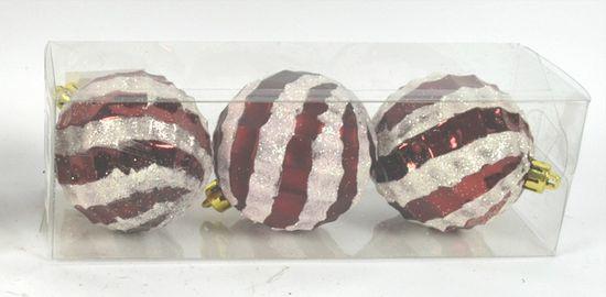 DUE ESSE Súprava 3 ks červených vianočných gulí Ø 8 cm s trblietavým prúžkom, typ 2