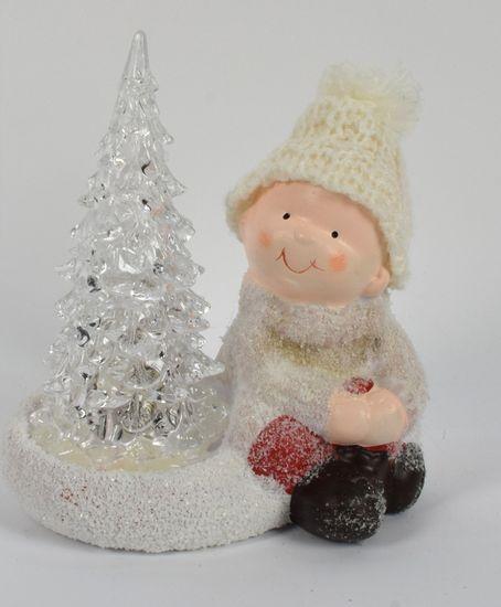 DUE ESSE Vánoční svítící dekorace kluk se stromečkem 15 cm