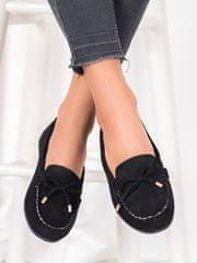 Zajímavé mokasíny dámské černé bez podpatku + Ponožky Sophia 2pack visone