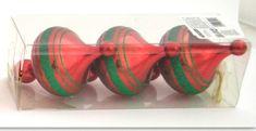 DUE ESSE komplet božičnih okraskov, rdeča bunka z zeleno črto, 13 cm, 3 kosi