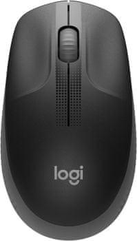 Kancelářská myš Logitech M190, tmavě šedá (910-005905) bezdrátová pravák levák ergonomie