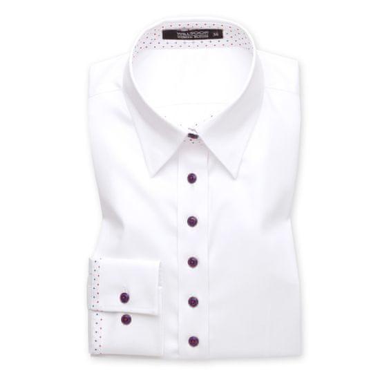 Willsoor Dámská košile bílá s kontrastními knoflíčky 10542