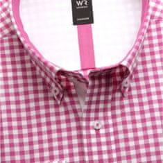 Willsoor Pánská klasická košile London (výška 176-182) 6006 v růžové barvě s kostkou a formulí Easy Care