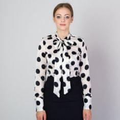 Willsoor Dámská košile s dlouhou mašlí a černým puntíkovaným vzorem 11814