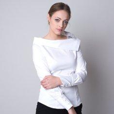 Willsoor Dámská košile bílé barvy s puntíkovanou mašlí 11323