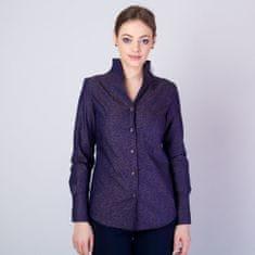 Willsoor Dámská košile s vysokým límečkem a hnědým vzorem 11705