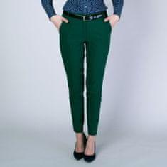 Willsoor Dámské společenské kalhoty Long Size tmavě zelené 12142