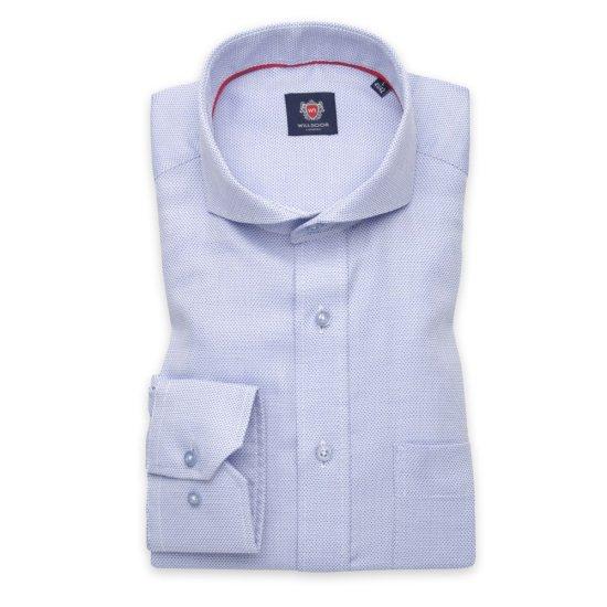 Willsoor Pánská košile klasická bledě modrá s jemným vzorem 11374