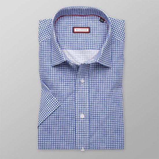 Willsoor Pánská slim fit košile s krátkým rukávem 8013 s modrou kostičkou