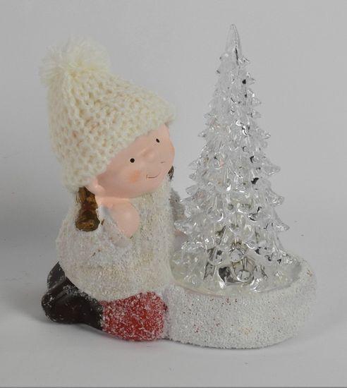 DUE ESSE Vianočná svietiaca dekorácia, chlapec so stromčekom 15 cm 3