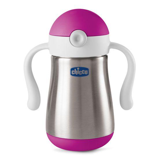 Chicco Hrnek nerezový Chicco Power Cup s brčkem a držadly, 237ml - dívka