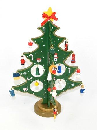 DUE ESSE Drewniane drzewko z ozdobami, 29 cm