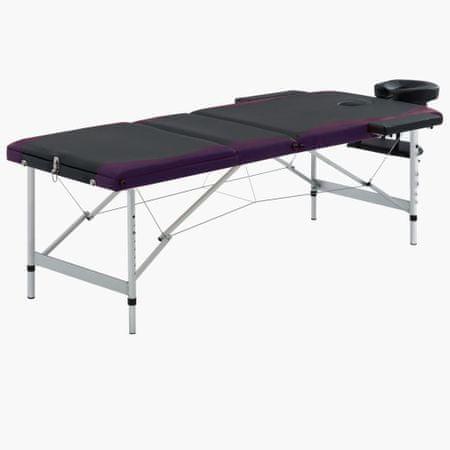 shumee 3-strefowy, składany stół do masażu, aluminium, czarno-fioletowy