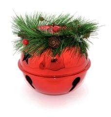 DUE ESSE Božični svečnik Ø 14 cm - zvonček z vejico, rdeč